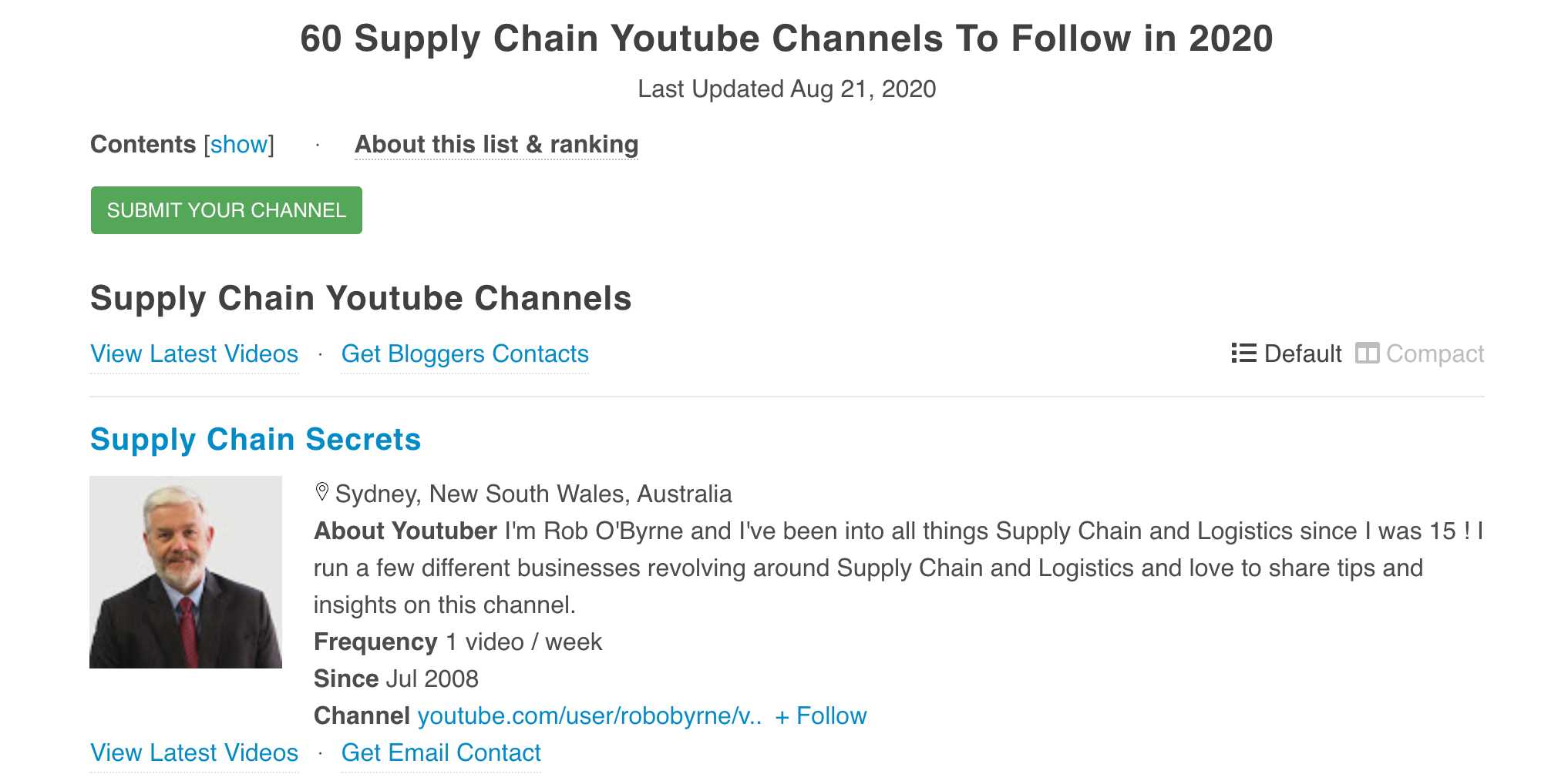 60 Supply Chain Youtube Channels To Follow in 2020